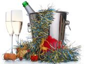 stock photo of loamy  - champagne bottle cork and wineglasses on white - JPG