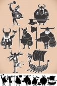 stock photo of viking ship  - Set of cartoon Viking silhouettes each in 2 versions - JPG