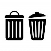 foto of dustbin  - Dustbin vector icons isolated on white background - JPG