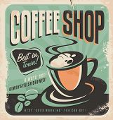 image of hot coffee  - Retro poster for coffee shop on old paper texture - JPG