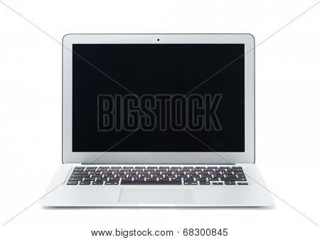 Silver aluminium laptop, isolated