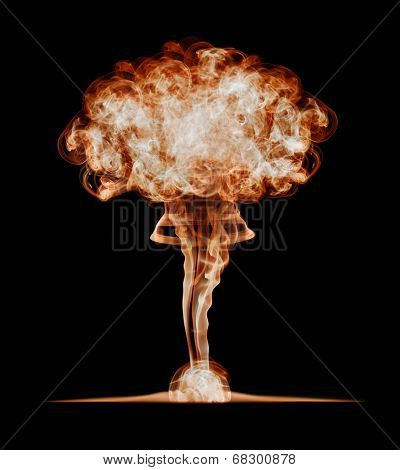 Nuclear explosion, isolated on black background. Danger of nuclear energy.