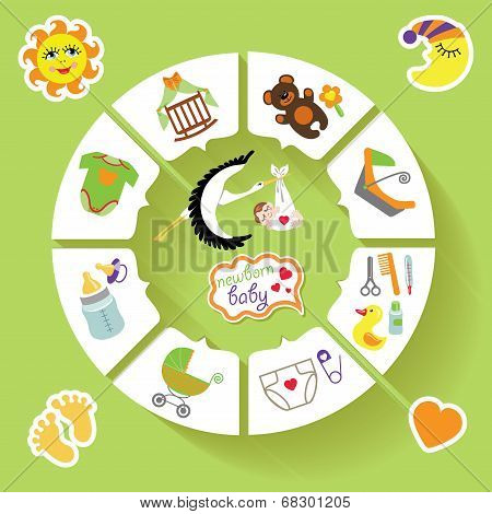 Circle Vector Baby Infographic.new Born Baby