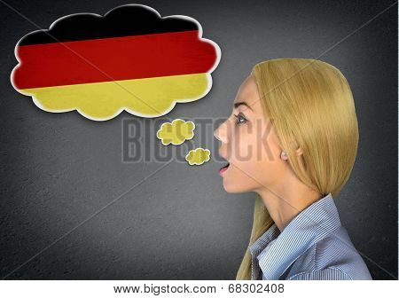 Woman speaking german in bubble