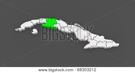 Map of Matanzas. Cuba. 3d