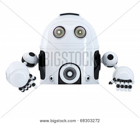 Robot Pointing At Blank Banner. Isolated. Contains Clipping Path