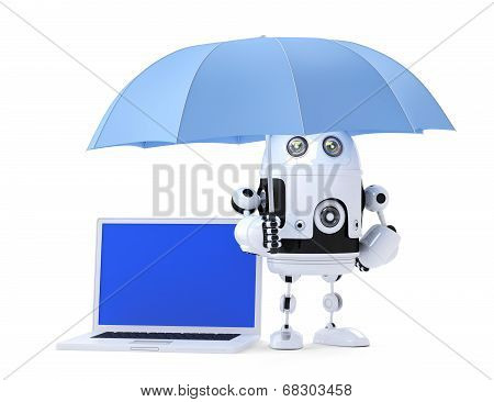 Android Robot With Laptop And Umbrella. Security Concept. Isolated. Contains Clipping Path Of Entire