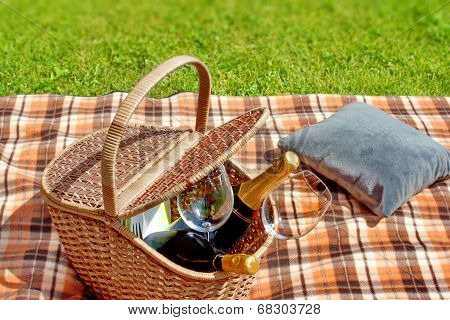 Summer Picnic On Lawn.