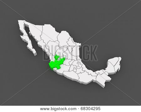 Map of Jalisco. Mexico. 3d
