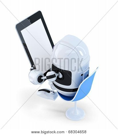 Robot Sitting With A Tablet Computer. Isolated. Contains Clipping Path Of Entire Scene And Tablet Sc
