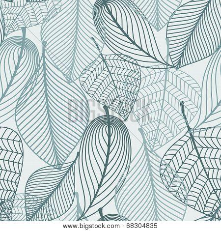 Delicate skeleton leaves seamless pattern