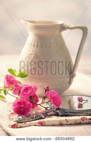 Stem of cut pink roses on mirror with empty antique jug in the background