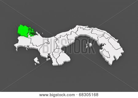 Map of Bocas del Toro. Panama. 3d