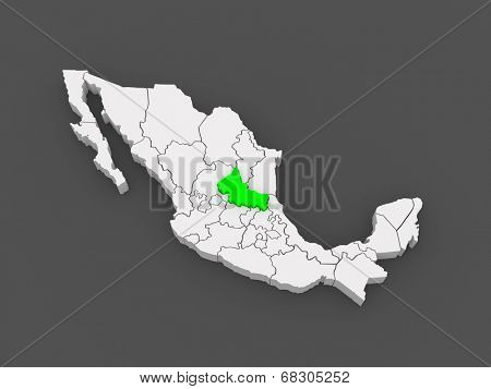 Map of San Luis Potosi. Mexico. 3d