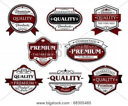 Assorted Premium Quality labels and banners