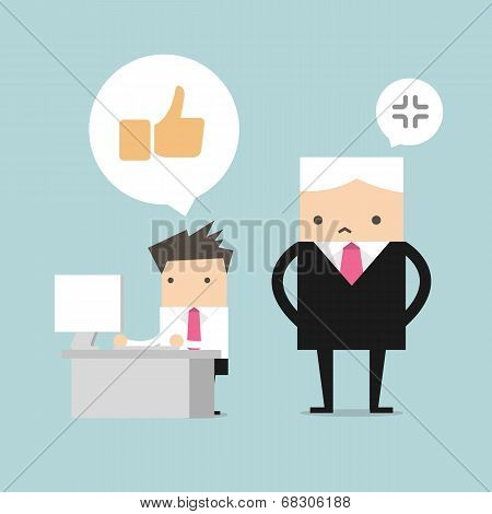 Salary man play social network and boss stand behind him