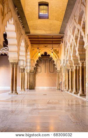 Corridor of aljaferia alcazar of Zaragoza Spain