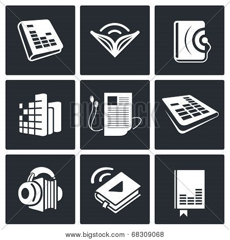 Audio Book Icons Set