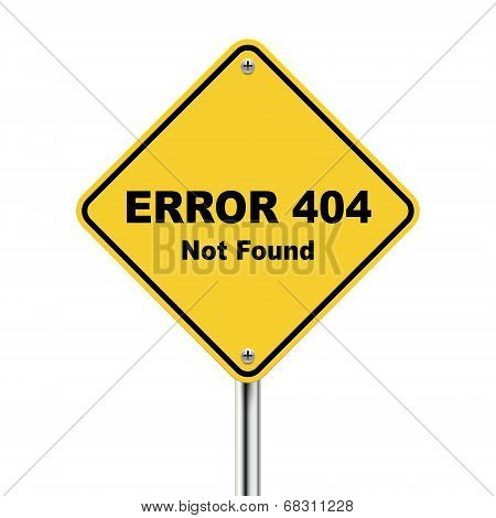 3D Illustration Of Error 404 Not Found Road Sign