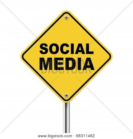 3D Illustration Of Yellow Roadsign Of Social Media