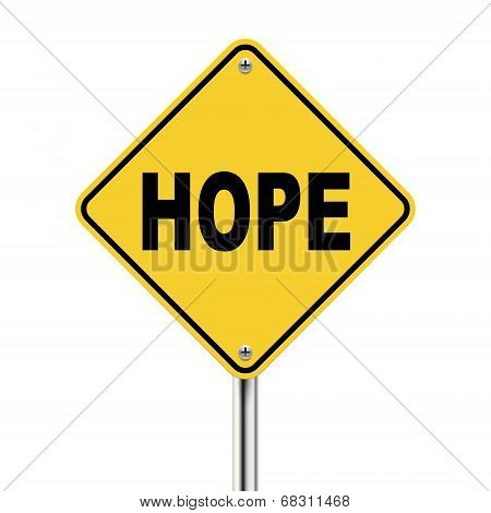 3D Illustration Of Yellow Roadsign Of Hope