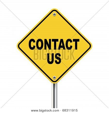 3D Illustration Of Yellow Roadsign Of Contact Us
