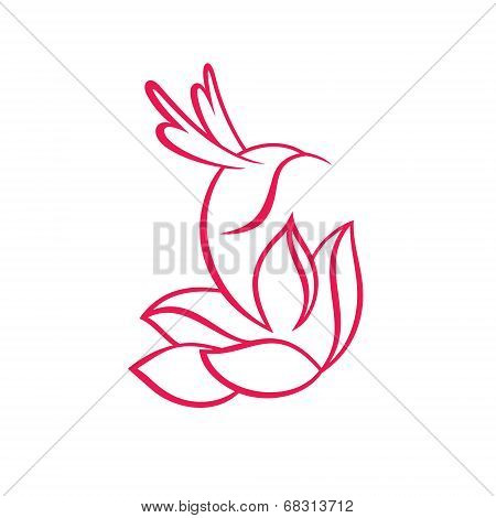 Hummingbird and flower sign