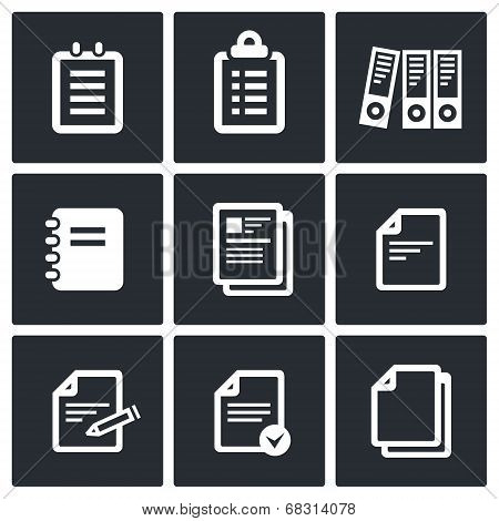 Notepad paper documents vector Icons set vector