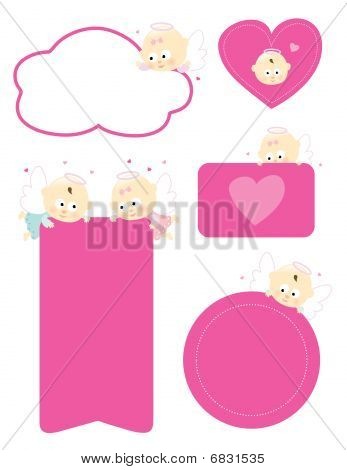 Various signs with angels isolated set