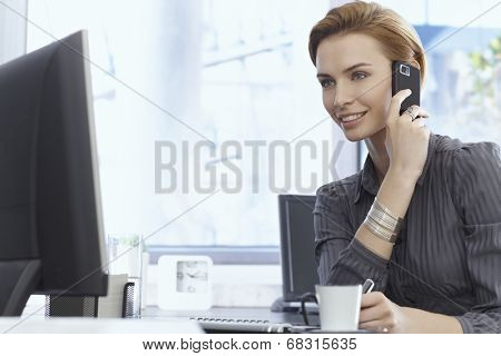 Portrait of attractive young businesswoman talking on mobilephone, using computer, sitting at desk.