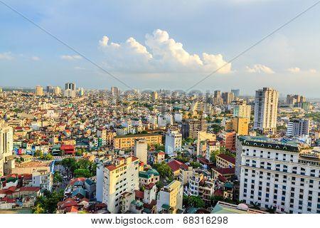 Sunset on skyscaper Hanoi, Vietnam