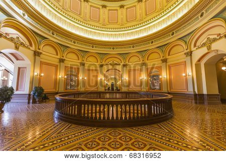 SACRAMENTO, CALIFORNIA - JULY 4, 2014:  Second floor rotunda inside California's historic state capitol building.