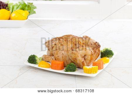 Eatable whole roasted chicken