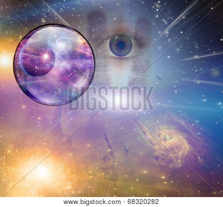 People soaring toward light amongst stars Elements of this image furnished by NASA
