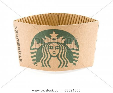 Ankara, Turkey - May 31, 2012:  Studio shot of a Starbucks coffee cup sleeve with new designed green logo isolated on white background.