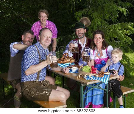 Bavarian Family In Park