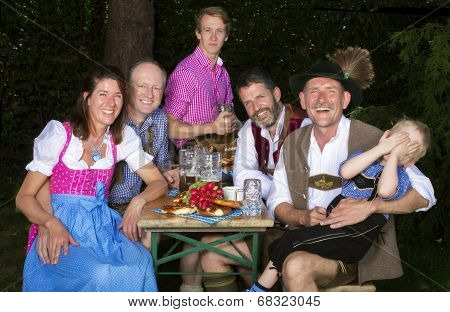 Bavarian Family In The Park