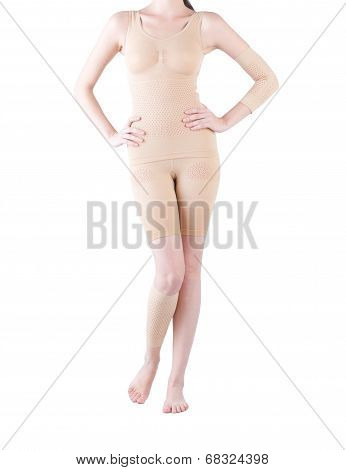 woman wearing elastic slimmer dress