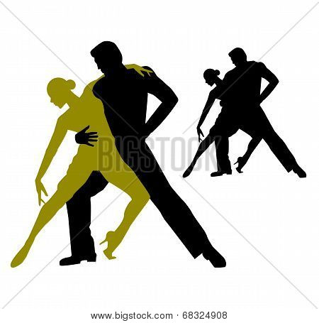 silhouette of couple dancing tango argentino