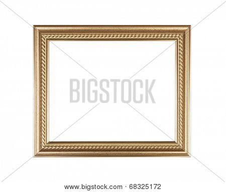 Empty golden frame on white background