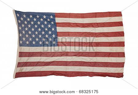 Weathered american flag isolated on white background