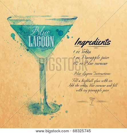 Blue Lagoon cocktails watercolor kraft