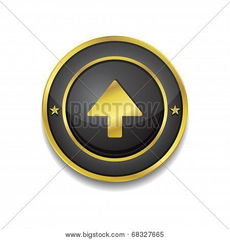 Up Key Circular Vector Golden Black Web Icon Button