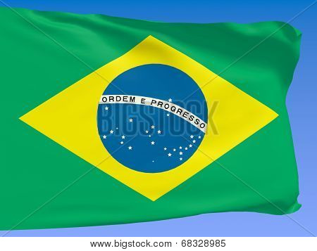 Brazil Flag Over Blue Sky