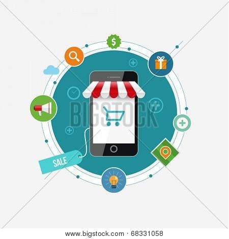 Online mobile shopping concept vector illustration with flat icon set.