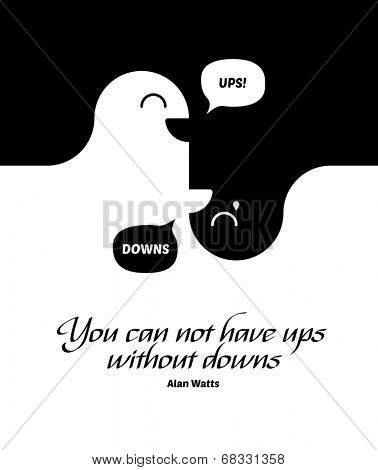 Conceptual black and white image showing an undulating wave form with two faces facing opposite directions depicting the saying by Alan Watts - You Cannot Have Ups Without Downs and their interdepency