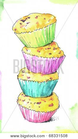 watercolor cupcakes. kitchen illustration.