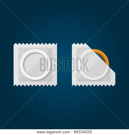 Flat Illustration of condom.
