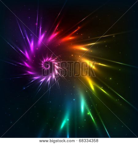 Abstract vector rainbow fractal spiral background
