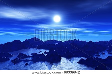 3D background of an abstract alien landscape at night